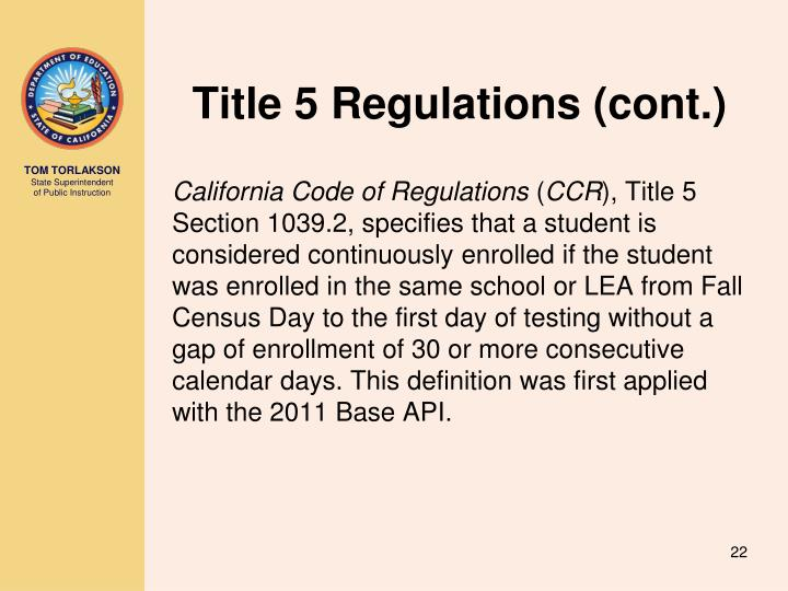 Title 5 Regulations (cont.)
