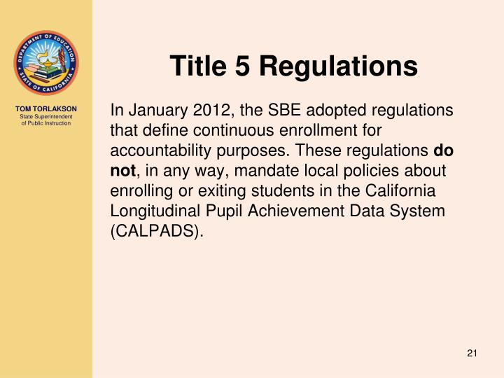 Title 5 Regulations