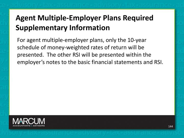 Agent Multiple-Employer Plans Required Supplementary Information