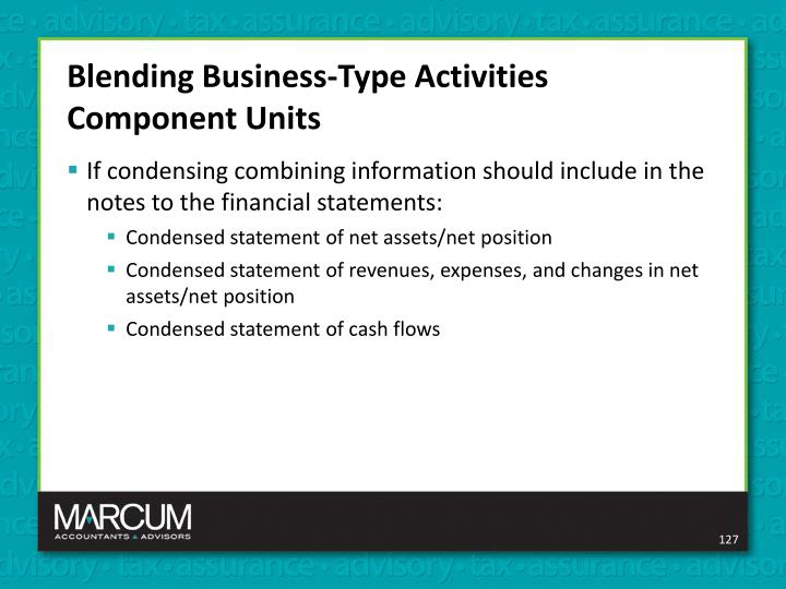 Blending Business-Type Activities Component Units