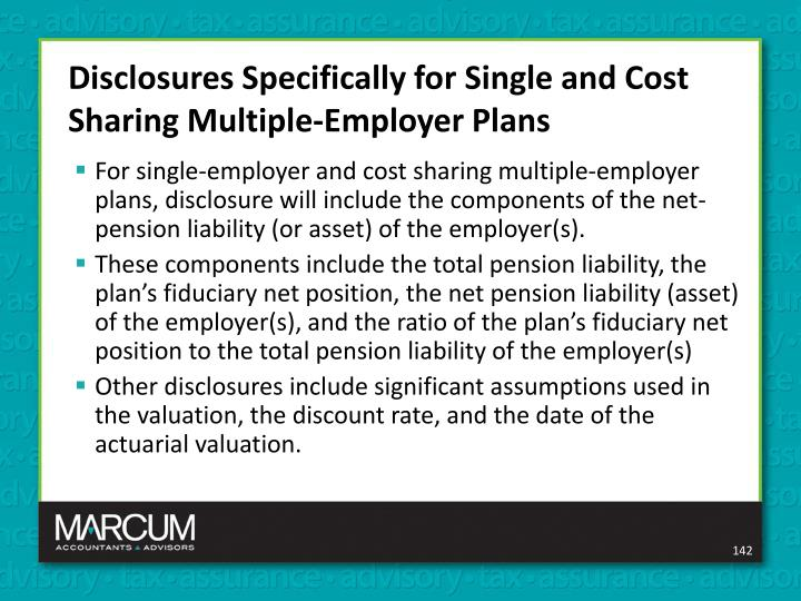 Disclosures Specifically for Single and Cost Sharing Multiple-Employer Plans