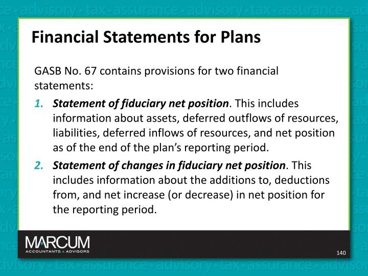 Financial Statements for Plans