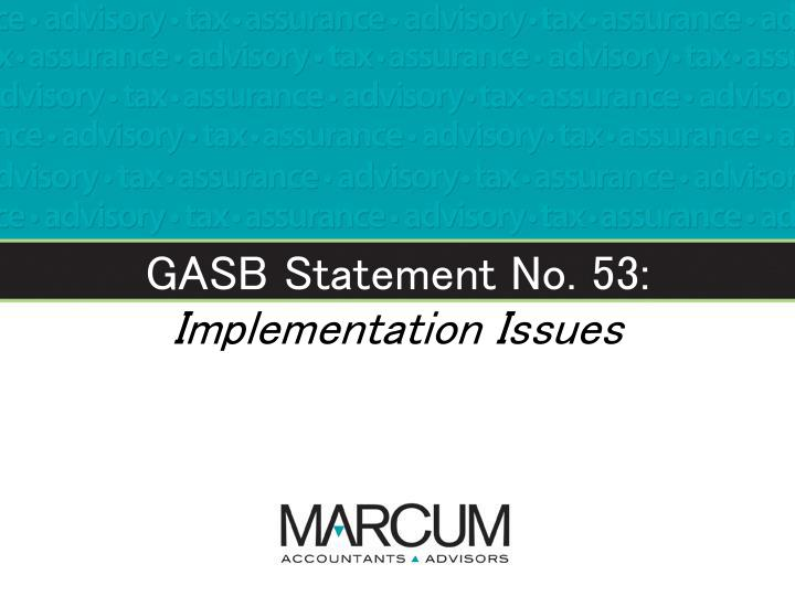GASB Statement No. 53:
