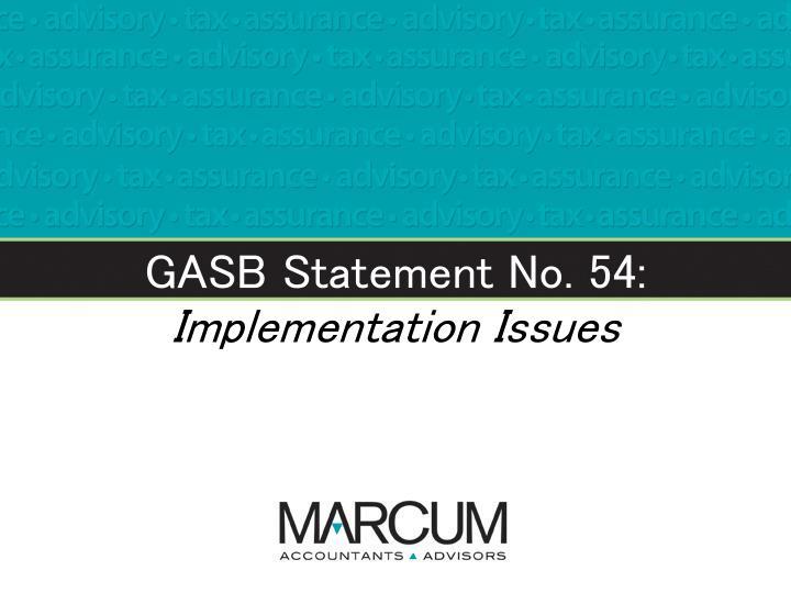 GASB Statement No. 54: