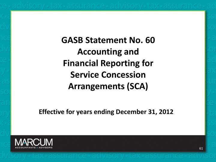 GASB Statement No. 60