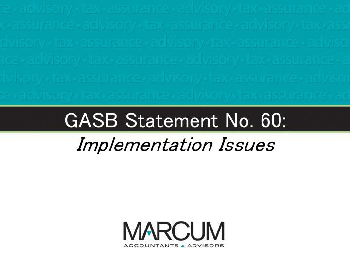 GASB Statement No. 60: