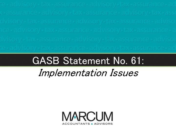 GASB Statement No. 61: