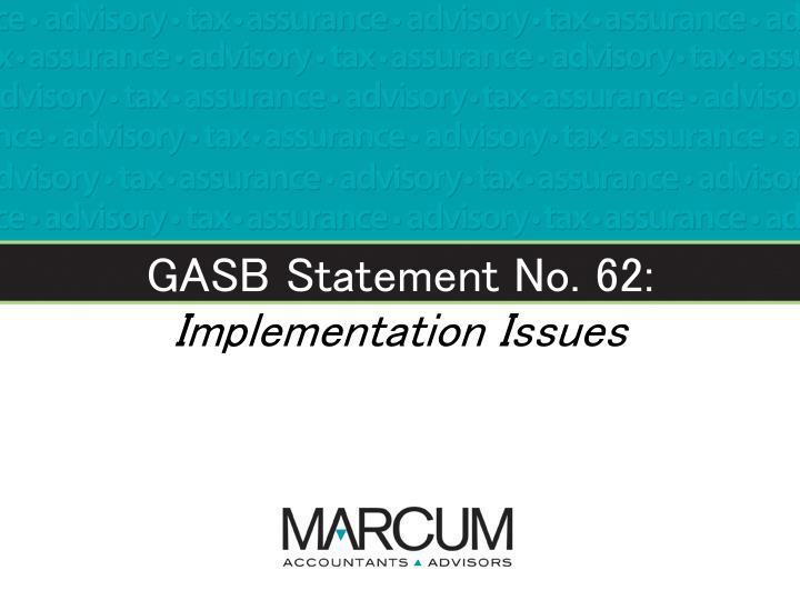 GASB Statement No. 62: