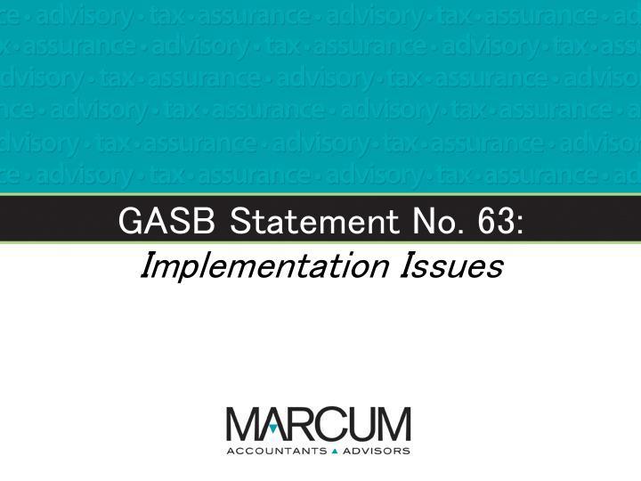 GASB Statement No. 63: