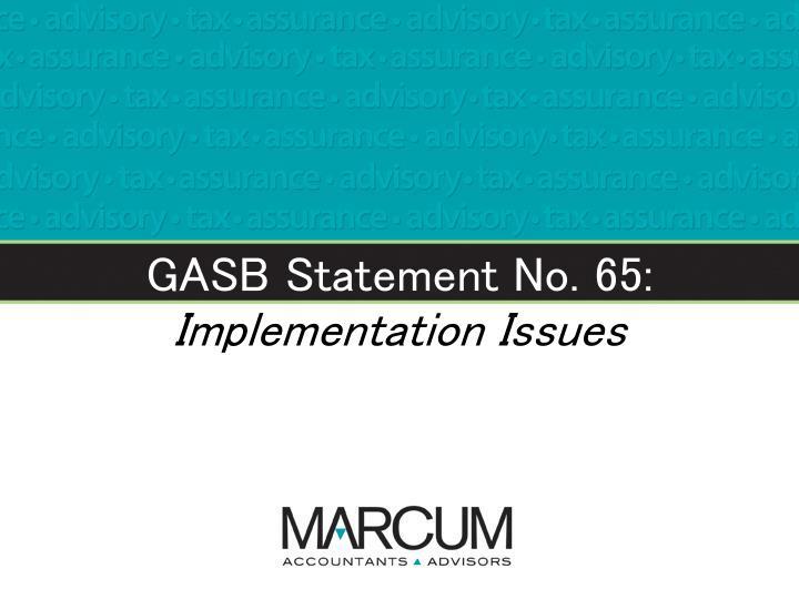 GASB Statement No. 65: