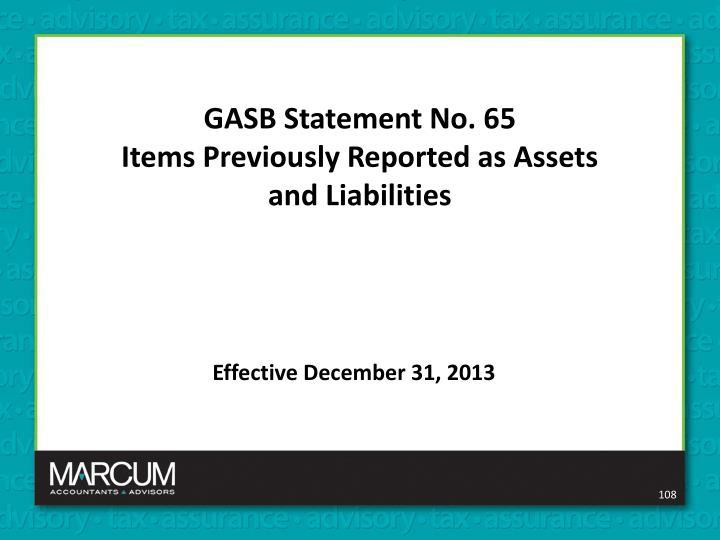 GASB Statement No. 65