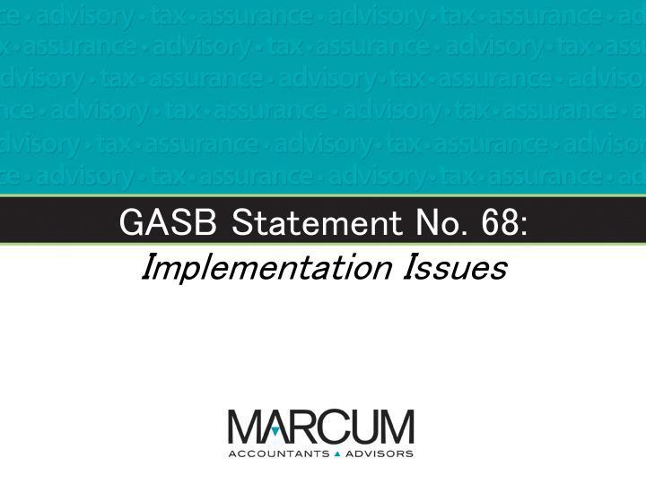 GASB Statement No. 68: