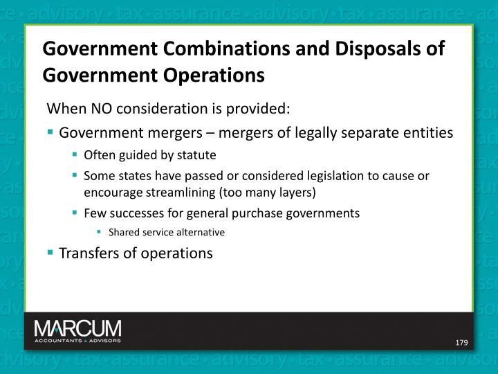 Government Combinations and Disposals of Government Operations