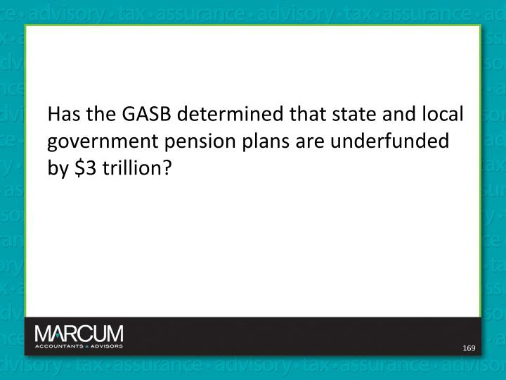 Has the GASB determined that state and local government pension plans are underfunded by $3 trillion?