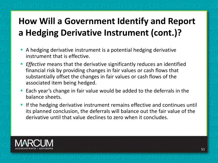 How Will a Government Identify and Report a Hedging Derivative Instrument (cont.)?