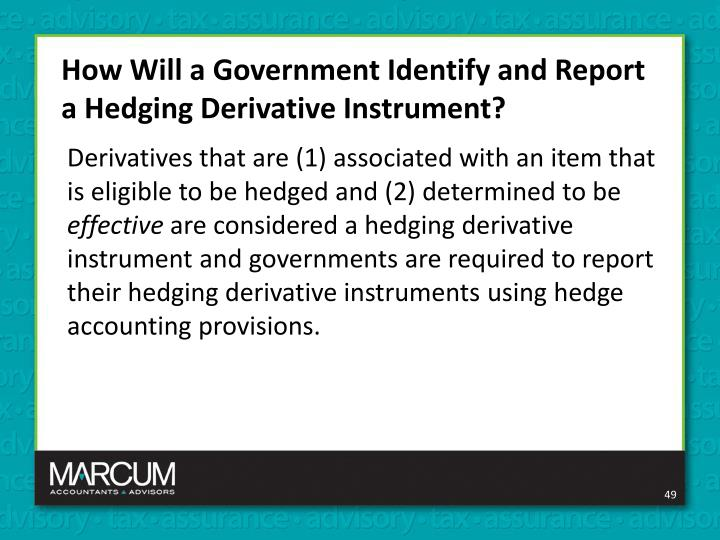 How Will a Government Identify and Report a Hedging Derivative Instrument?
