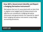 how will a government identify and report a hedging derivative instrument