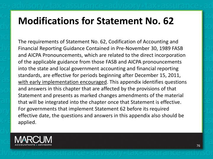 Modifications for Statement No. 62