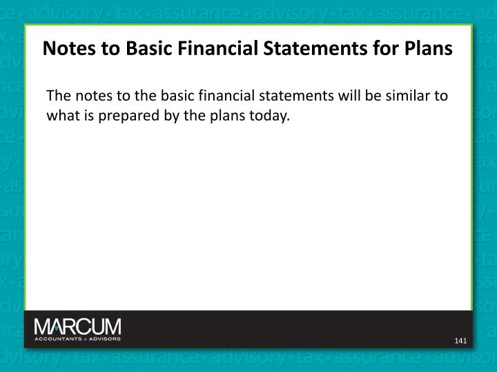 Notes to Basic Financial Statements for Plans