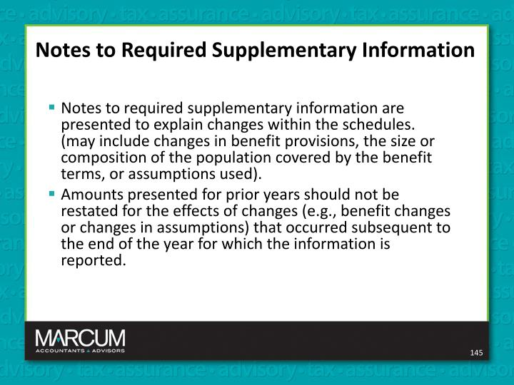 Notes to Required Supplementary Information