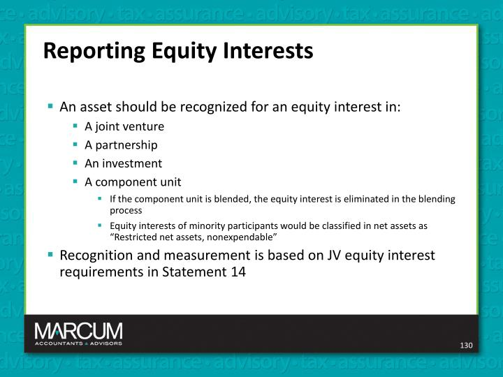 Reporting Equity Interests