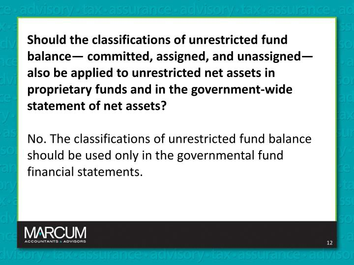 Should the classifications of unrestricted fund balance— committed, assigned, and unassigned—also be applied to unrestricted net assets in proprietary funds and in the government-wide statement of net assets?