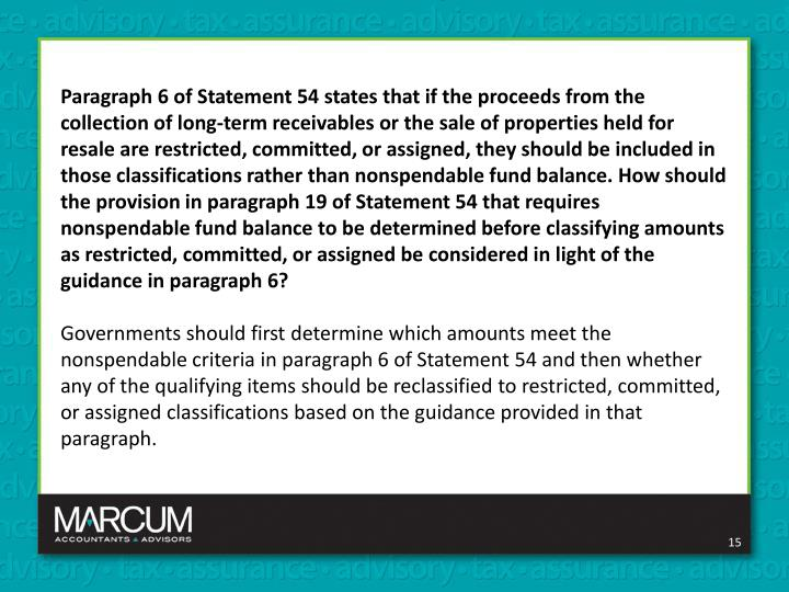 Paragraph 6 of Statement 54 states that if the proceeds from the collection of long-term receivables or the sale of properties held for resale are restricted, committed, or assigned, they should be included in those classifications rather than