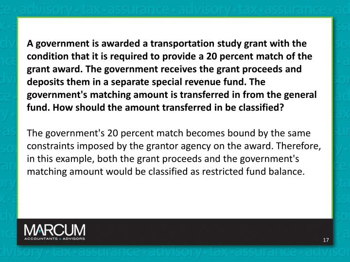 A government is awarded a transportation study grant with the condition that it is required to provide a 20 percent match of the grant award. The government receives the grant proceeds and deposits them in a separate special revenue fund. The government's matching amount is transferred in from the general fund. How should the amount transferred in be classified?