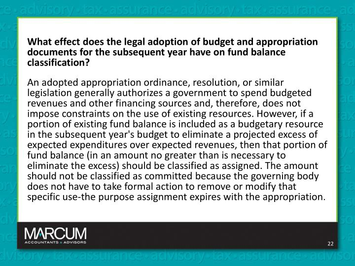 What effect does the legal adoption of budget and appropriation documents for the subsequent year have on fund balance classification?