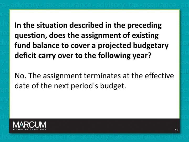 In the situation described in the preceding question, does the assignment of existing fund balance to cover a projected budgetary deficit carry over to the following year?