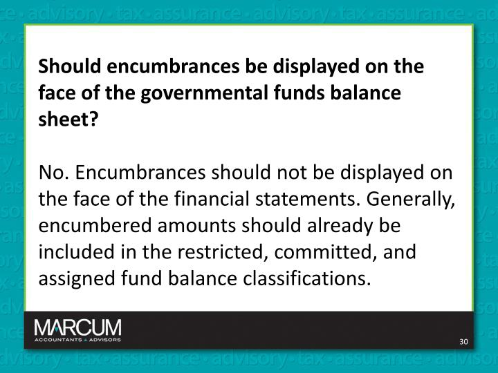 Should encumbrances be displayed on the face of the governmental funds balance sheet?