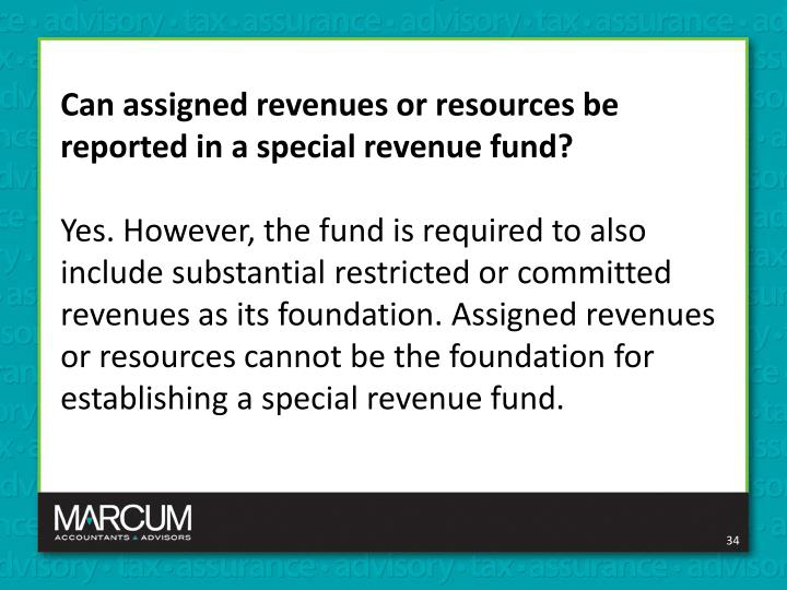 Can assigned revenues or resources be reported in a special revenue fund?