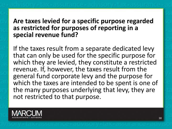 Are taxes levied for a specific purpose regarded as restricted for purposes of reporting in a special revenue fund?