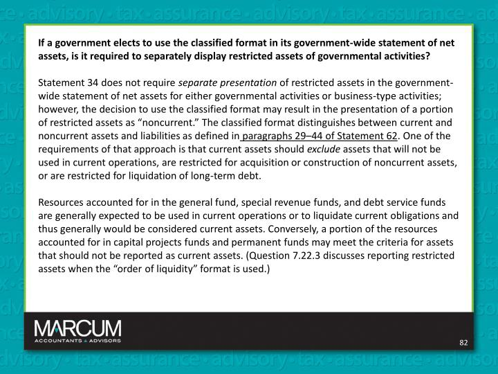 If a government elects to use the classified format in its government-wide statement of net assets, is it required to separately display restricted assets of governmental activities?