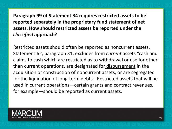 Paragraph 99 of Statement 34 requires restricted assets to be reported separately in the proprietary fund statement of net assets. How should restricted assets be reported under the