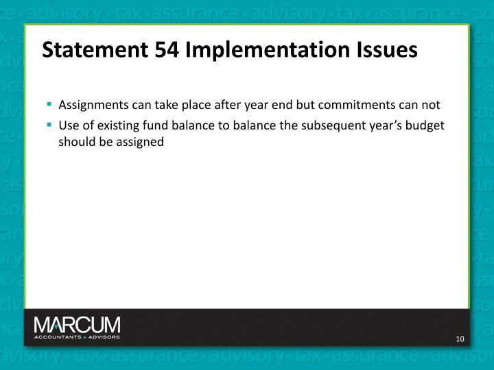 Statement 54 Implementation Issues
