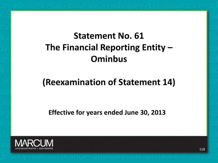 Statement No. 61