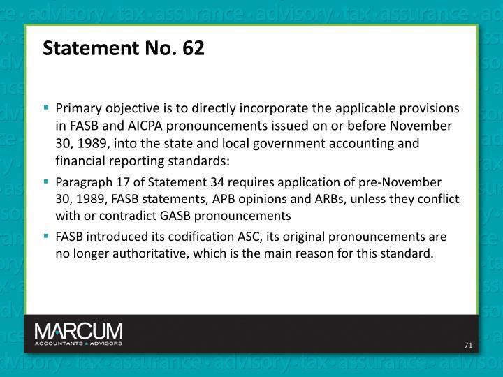 Statement No. 62