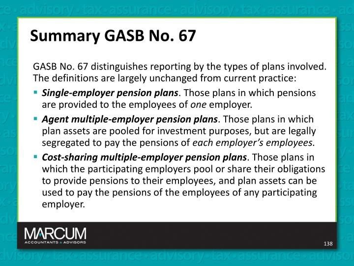 Summary GASB No. 67
