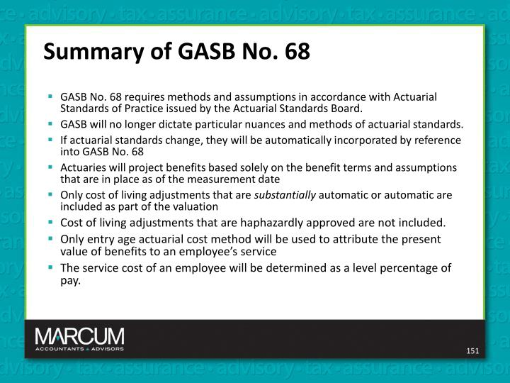 Summary of GASB No. 68
