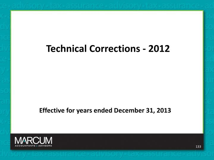 Technical Corrections - 2012
