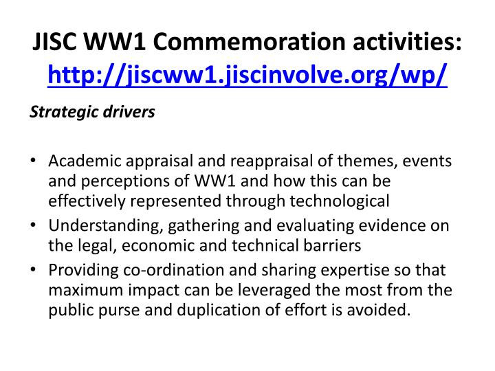 Jisc ww1 commemoration activities http jiscww1 jiscinvolve org wp