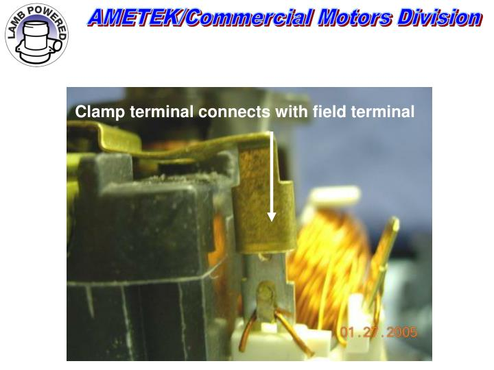 Clamp terminal connects with field terminal