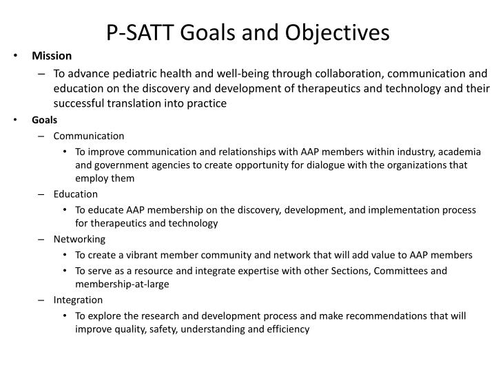 P satt goals and objectives