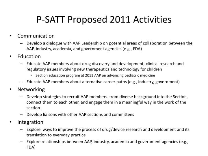 P-SATT Proposed 2011 Activities