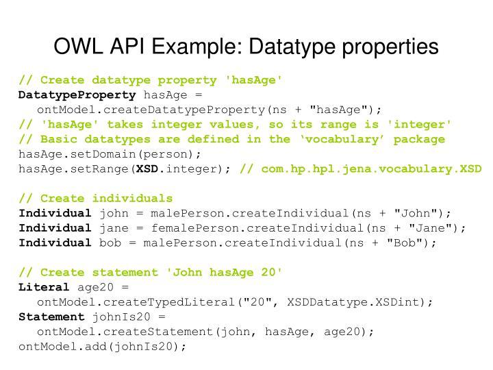 OWL API Example: Datatype properties