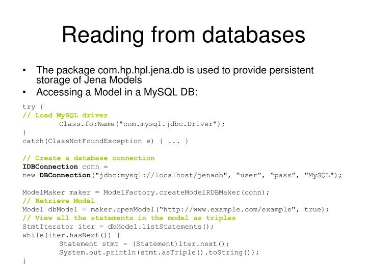 Reading from databases