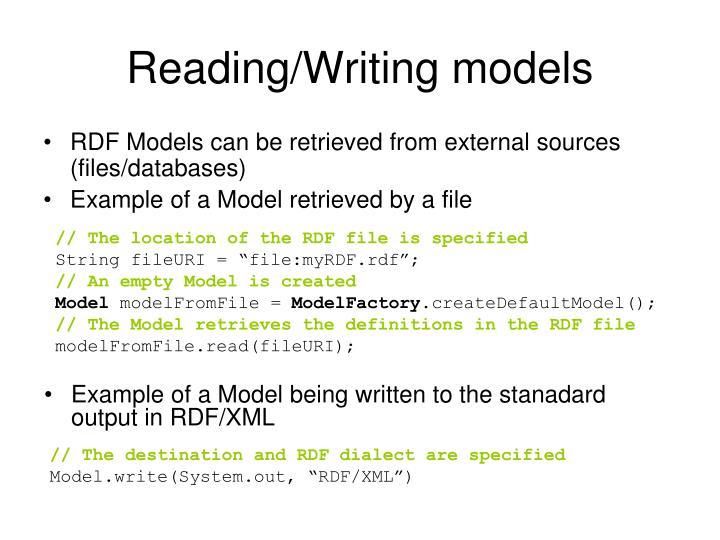 Reading/Writing models