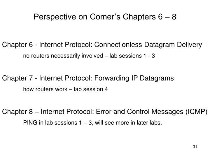 Perspective on Comer's Chapters 6 – 8