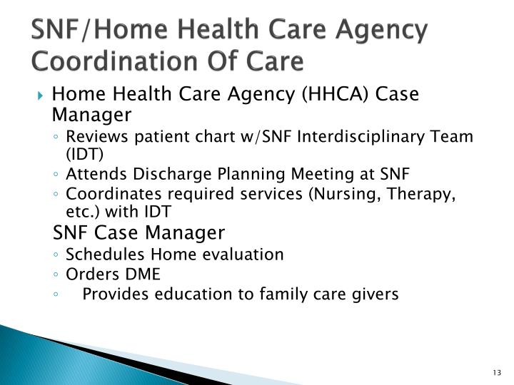 SNF/Home Health Care Agency Coordination Of Care
